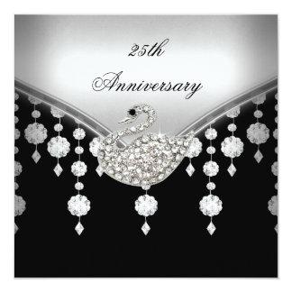 25th Anniversary Elegant Silver Black White Swan 13 Cm X 13 Cm Square Invitation Card