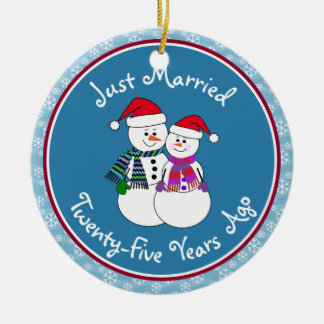 25th Anniversary Gift Fun Snow Couple Christmas Christmas Ornament