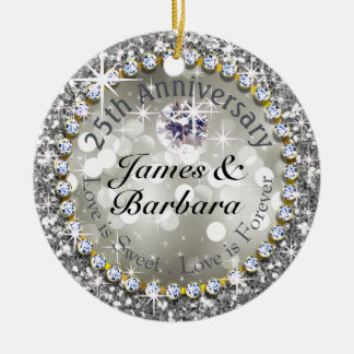 25th Anniversary Glitzy Diamond Bling Christmas Ornament