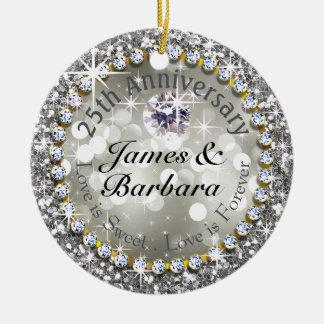 25th Anniversary Glitzy Diamond Bling Round Ceramic Decoration