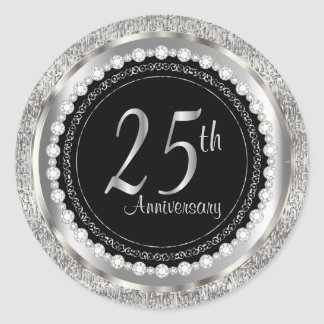 25th Anniversary in Silver Metallic and Black Classic Round Sticker