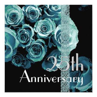 25th Anniversary Invitation AQUA BLUE Roses