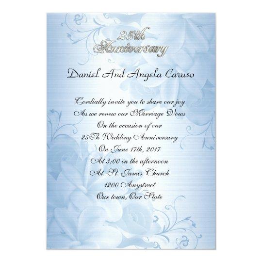 25th Anniversary invitation blue floral