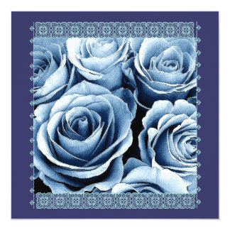 25th Anniversary Invitation - Blue Roses and Lace