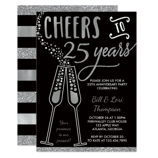 25th Anniversary Invitation, Faux Glitter/Foil Card