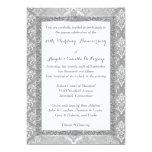 25th Anniversary Invitation | FAUX Silver Glitter 13 Cm X 18 Cm Invitation Card