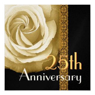 25th Anniversary Invitation - GOLD Rose