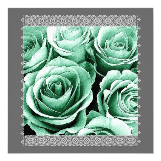 25th Anniversary Invitation Mint Green Roses