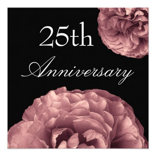 25th Anniversary Invitation - PINK Roses