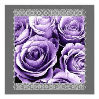 25th Anniversary Invitation - Purple Roses & Lace