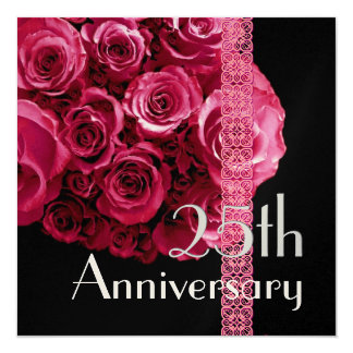 25th Anniversary Invitation - RED Roses