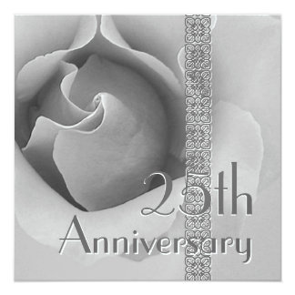 25th Anniversary Invitation - SILVER Rose