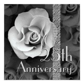 25th Anniversary Invitation -SILVER Rose
