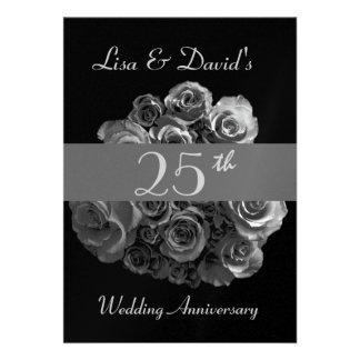 25th Anniversary Invitation - Silver Roses