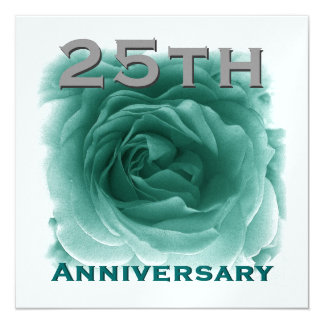 25th Anniversary Invitation - Teal Rose