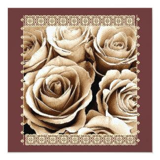 """25th Anniversary Invitation VIntage Cocoa Roses 5.25"""" Square Invitation Card"""