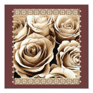 25th Anniversary Invitation VIntage Cocoa Roses