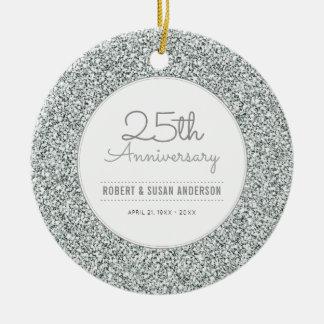 25th Anniversary Keepsake Faux Silver Glitter Christmas Ornament