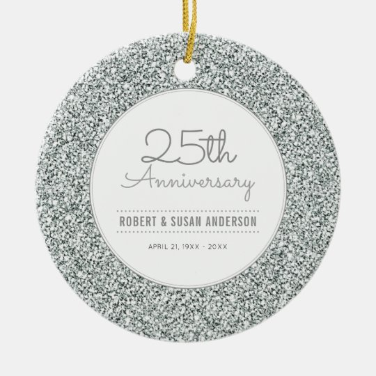 25th Anniversary Keepsake Faux Silver Glitter Christmas Ornament