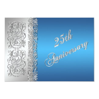 25th Anniversary Ornate Silver Scrolls with Blue Announcement