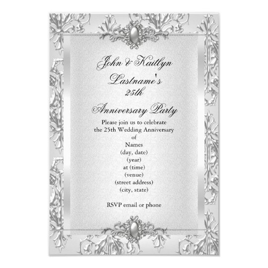 25th Anniversary Party Damask Silver White Card