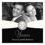 25th Anniversary Party - Faux Pocket Style -SQUARE Custom Invites