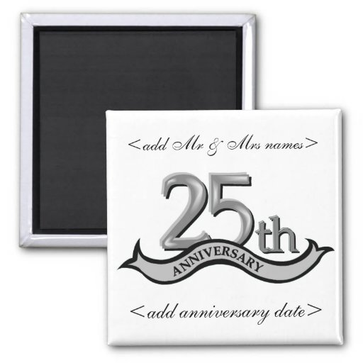 25th Anniversary Party Favours Square Magnet