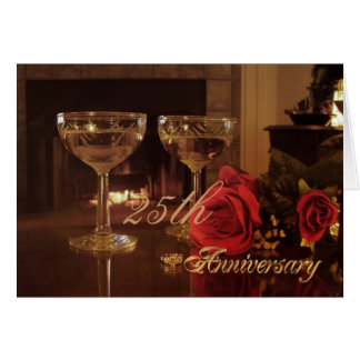25th Anniversary Party Invitation card wine and ro