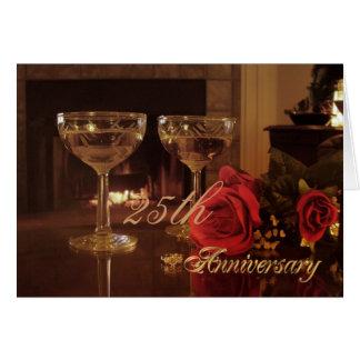 25th Anniversary Party Invitation card wine and ro