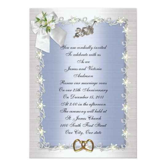 25th Anniversary party invitation elegant