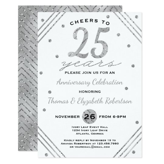 25th Anniversary Party Invitation, Faux Silver Card