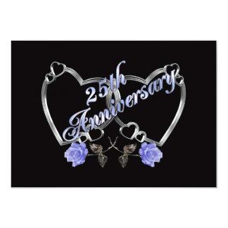 25Th anniversary party invitation silver blue rose