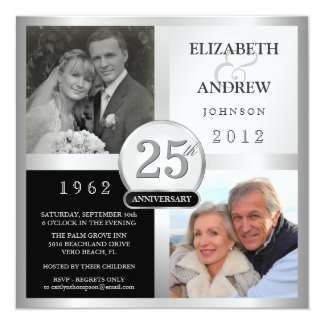 25th Anniversary Party Invitations - 2 Photos