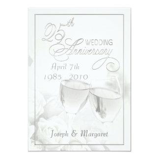 """25th Anniversary Party Invitations - Personalized 5"""" X 7"""" Invitation Card"""