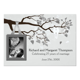 25th Anniversary Party Lovebirds In Tree 5x7 Paper Invitation Card