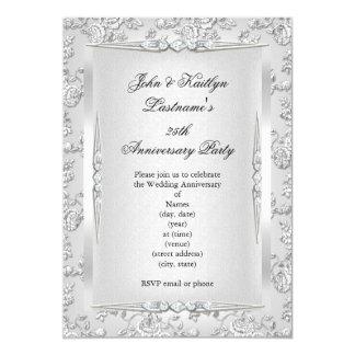 25th Anniversary Party Rose Damask Silver White 13 Cm X 18 Cm Invitation Card