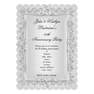 25th Anniversary Party Rose Damask Silver White 2 13 Cm X 18 Cm Invitation Card