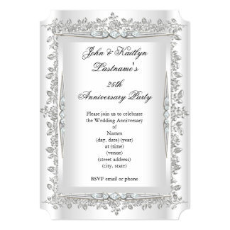 25th Anniversary Party Rose Damask Silver White 3 5x7 Paper Invitation Card