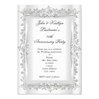 25th Anniversary Party Rose Damask Silver White 3 13 Cm X 18 Cm Invitation Card