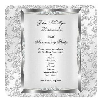 25th Anniversary Party Rose Damask Silver White 3 5.25x5.25 Square Paper Invitation Card