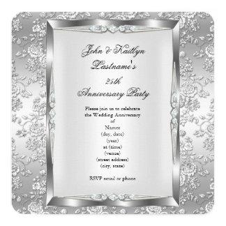 25th Anniversary Party Rose Damask Silver White 4 13 Cm X 13 Cm Square Invitation Card