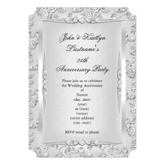 """25th Anniversary Party Rose Damask Silver White 5"""" X 7"""" Invitation Card"""