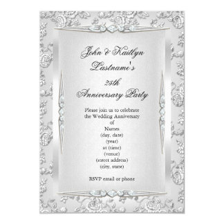 25th Anniversary Party Rose Damask Silver White 13 Cm X 18 Cm Invitation Card