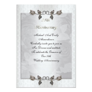 25th anniversary party silver roses formal 13 cm x 18 cm invitation card