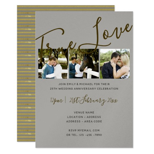 25th Anniversary PHOTO Collage SILVER Wed Invites