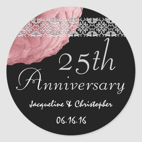 25th Anniversary PINK SILVER BLACK Rose Sticker