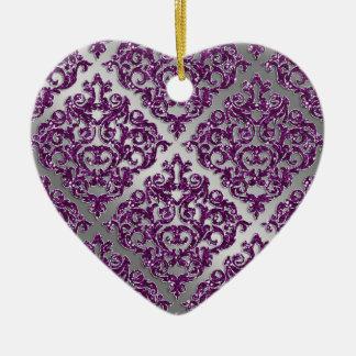 25th Anniversary Purple Sparkle Silver Damask Ceramic Heart Decoration
