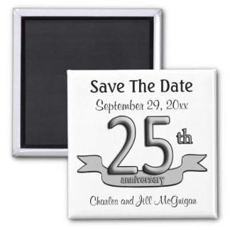 25th Anniversary Save The Date Party Favors Square Magnet