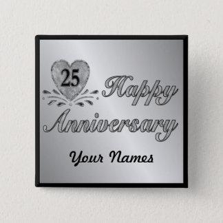 25th Anniversary - Silver 15 Cm Square Badge