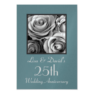 """25th Anniversary Silver and Turquoise Template 5"""" X 7"""" Invitation Card"""